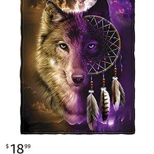 Wolf dream catcher fleece throw blanket
